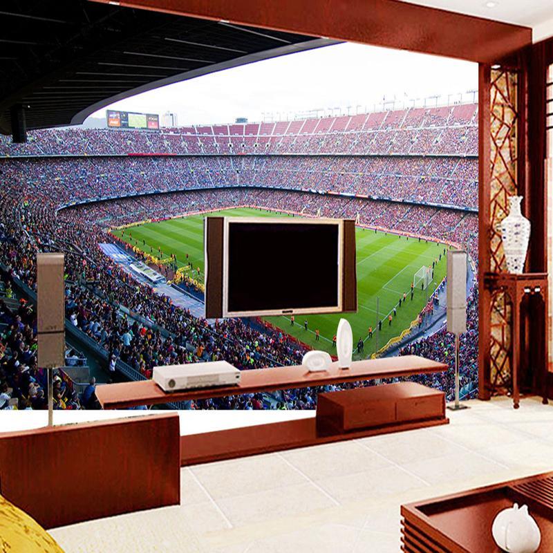 Бакал Барселона Футбольный стадион Спорт 3D Wall Фрески Обои для Стен Гостиная 5d Фото Mural футбол 3d Современной стены Mural