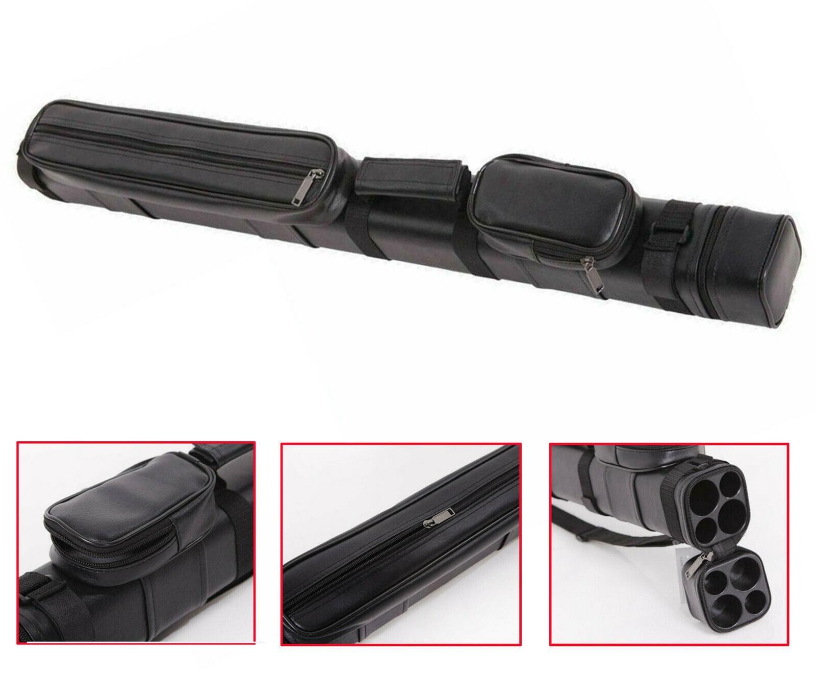 Cuoio artificiale 2x2 1/2 biliardo bastone piscina Barrel duro Cue tubo Case nero