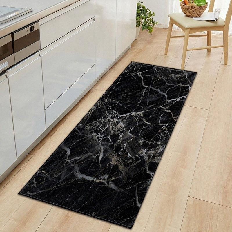 1 PC Anti-Slip Kitchen Carpet Black White Marble Printed Entrance Doormat Floor Mats Carpets for Living Room Bathroom Mat Rugs iQ1d#