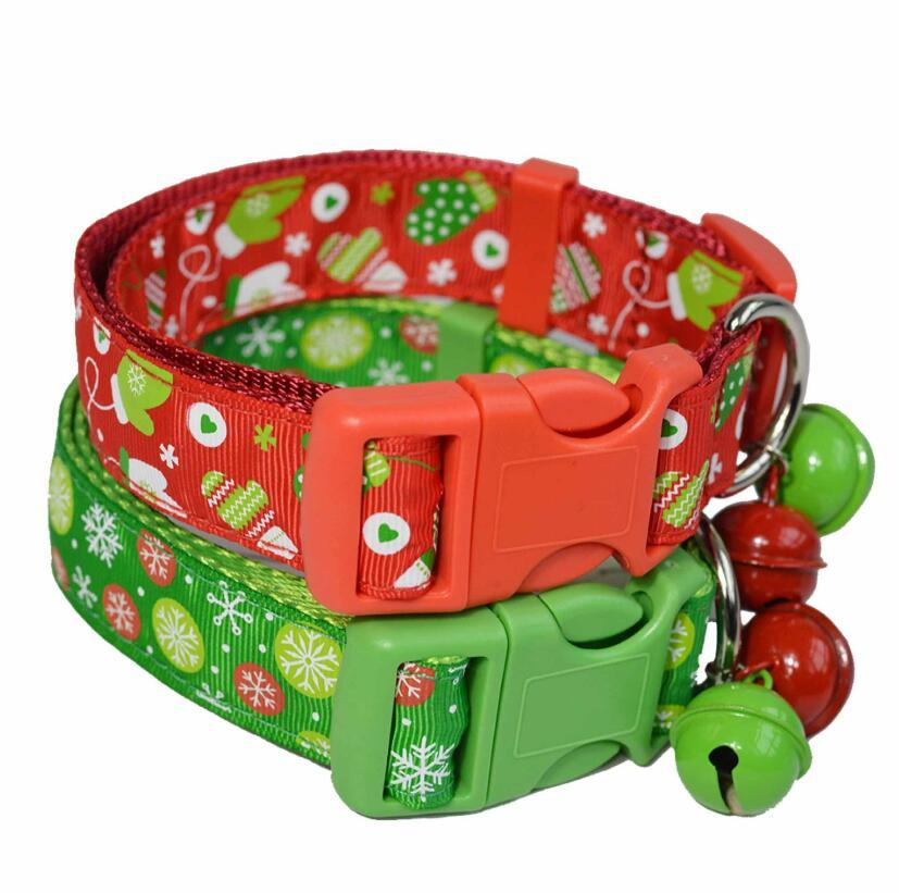 Christmas pet collar nylon durable with bell necklace Christmas pet decoration suitable for small and medium-sized dogs