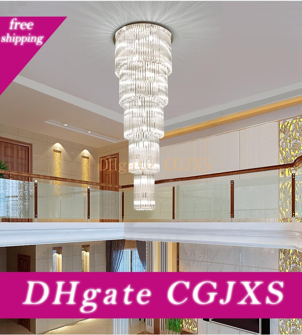 Большой кристаллический светильник AC110V 220v Длинная стеклянная Лестничная Осв.арматура Проекты освещение Для Hotel Villa