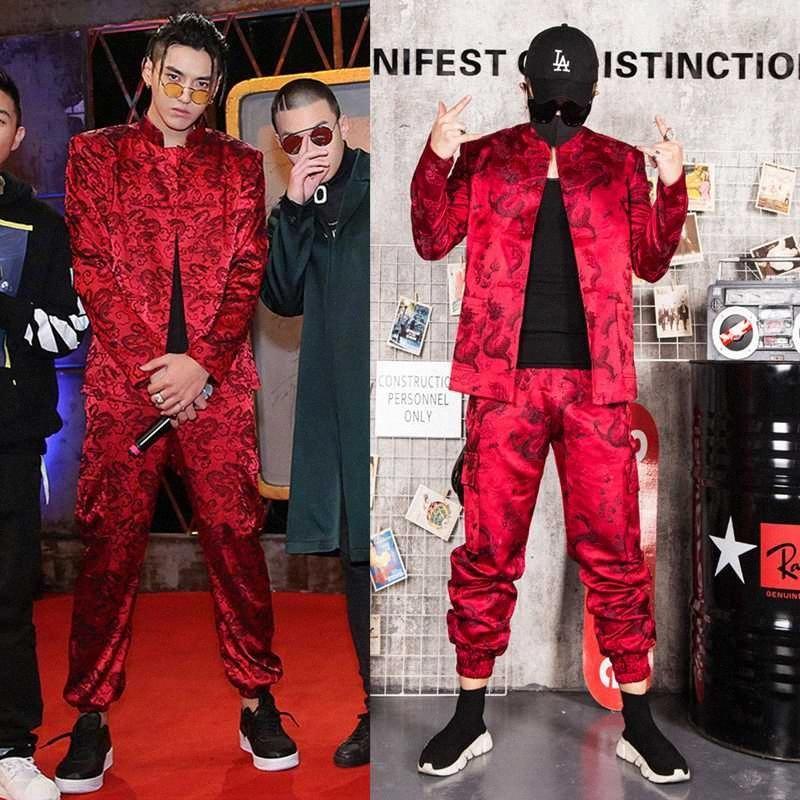 Suits Custom Made Imposta Moda Uomo Rosso ricamato casuale Hip Hop Blazer giacca maschile fase del partito del DJ Cantante Costume lmaU #