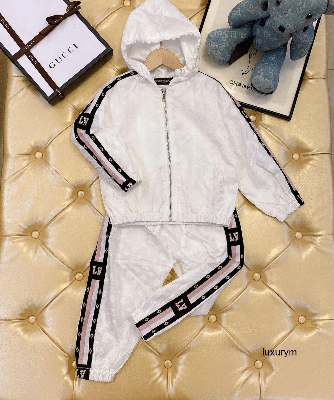 Весна мальчик девочка штаны двухсекционной вскользь печать костюма высокого качества с длинным рукавом Трендовых брюк