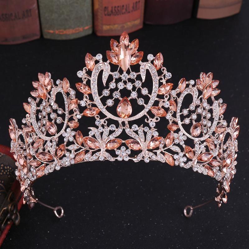 Accesorios de cristal de lujo princesa nupcial tiaras y coronas de boda de la manera de Hairbands tocados de las mujeres pelo de la novia corona de la reina