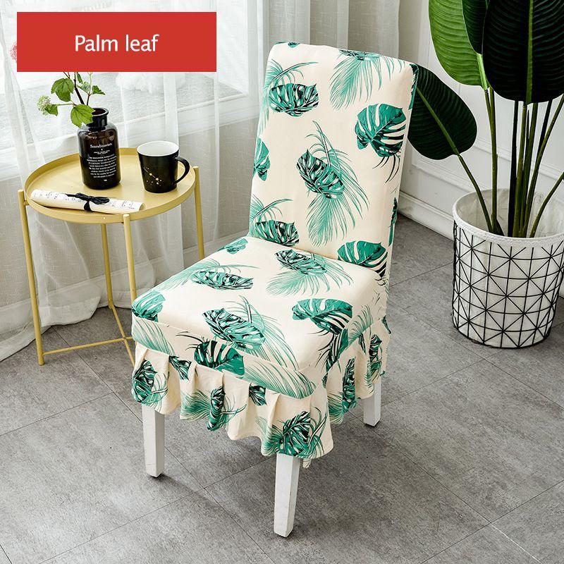 Monstera Chaise Spandex Couverture extensible feuilles tropicales Jupe plissée élastique de mariage manger Seat Chaise cas pour la cuisine Hôtel Accueil