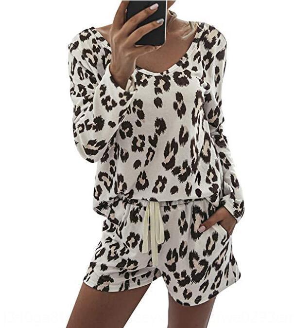 meaYs 2020 neue Frauen-Einrichtung zu Hause bequeme Frauen Leoparddruck runder Startseite Kleidung Ansatz Art und Weise Klage