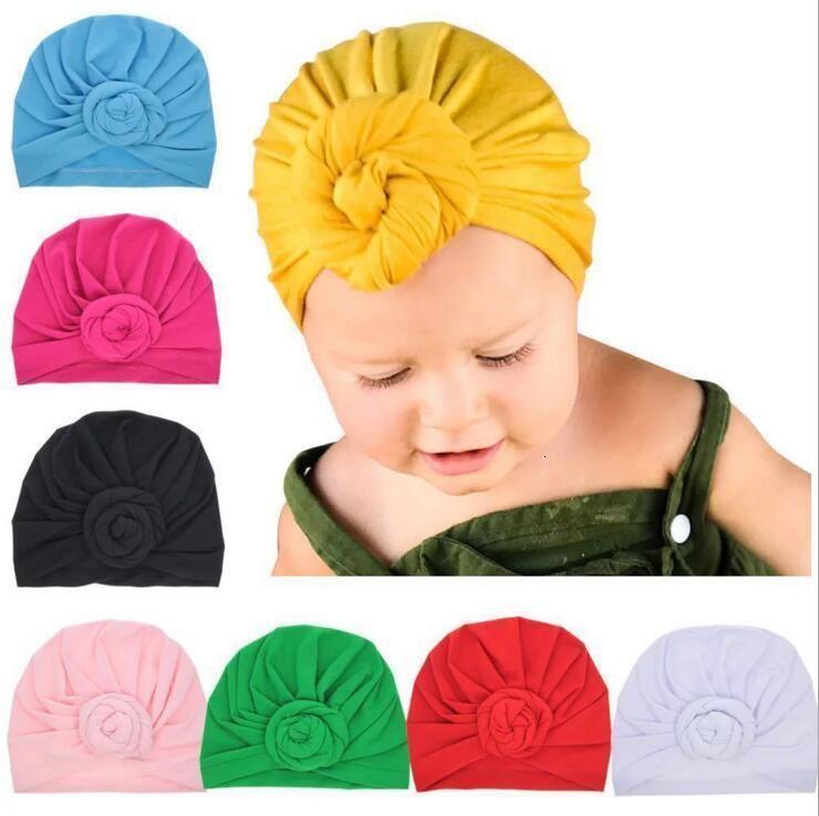 Düğüm Şapkalar Çocuk Şeker Bebek rengi Turban Knot Baş sarar Yenidoğan Donut Şapka Çocuk Pamuk Hairband Beanie Hindistan Müslüman Turban CLS426 Caps