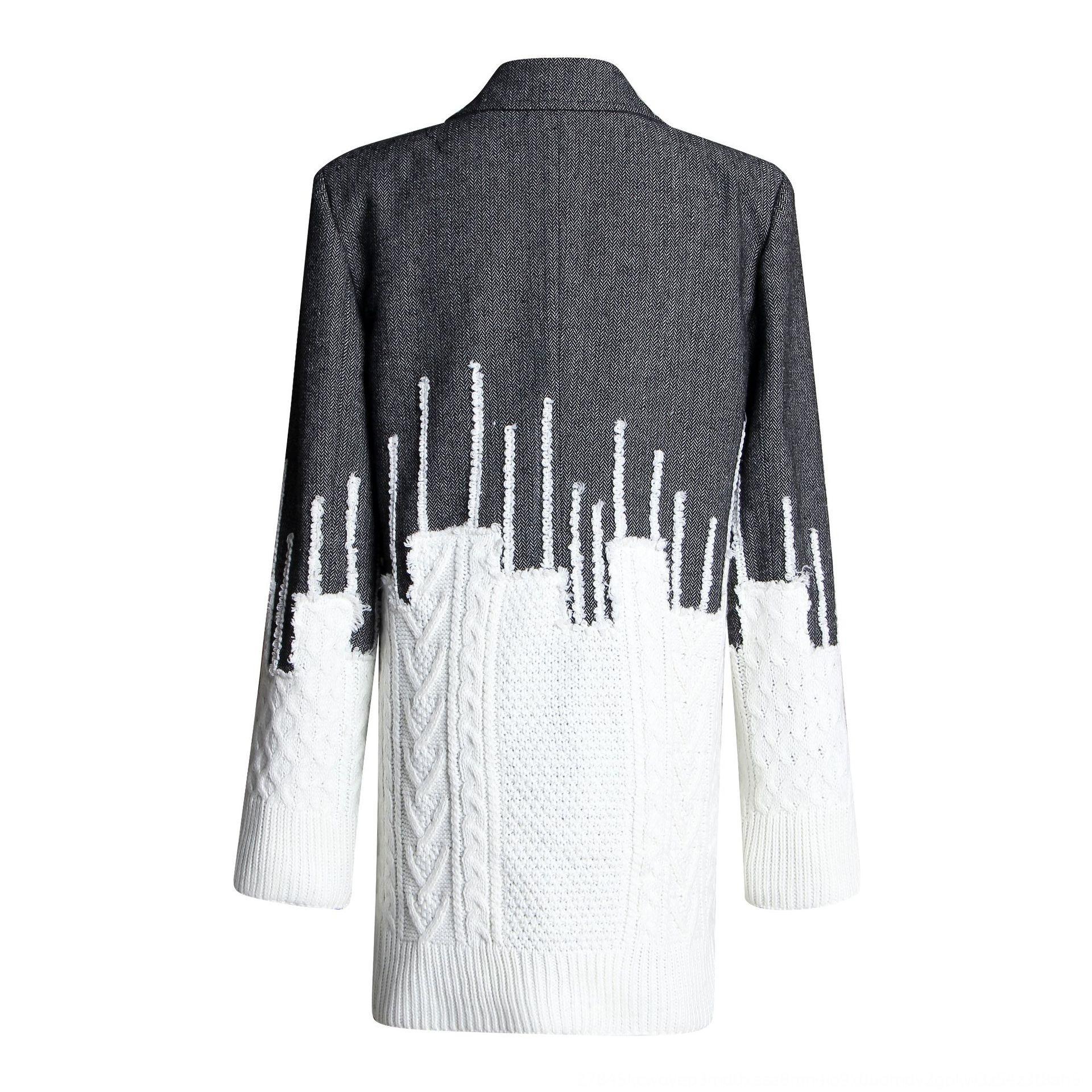 nQlg1 rauchigen kleinen Anzug 2020 Autumn Designer britischen Stil Mantel Pullover Wolle nähen Pullover wolle wollig New grauen Mantel Anzug