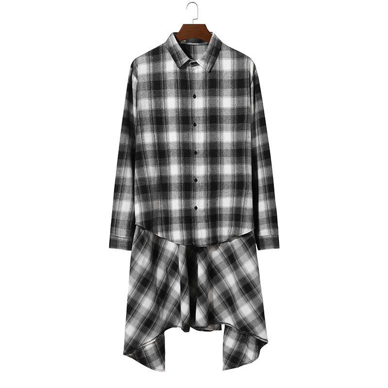 Mens Hip Hop Streetwear Casual Shirt 2020 Brand High Street Long Sleeve Shirts Men Punk Rock Gothic Shirt Male Chemise Homme xxl