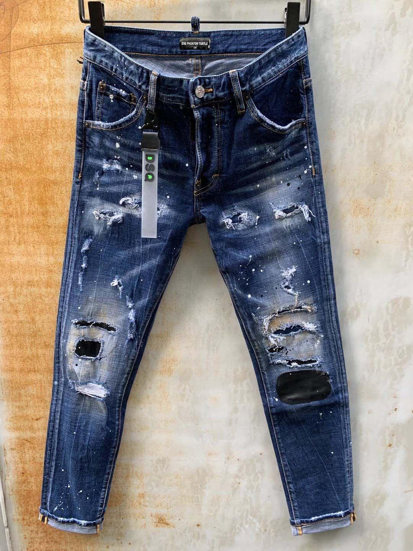 DSQ جينز رجالي فاخر مصمم جينز نحيل ممزق كول جاي السببية هول الدينيم أزياء العلامة التجارية تناسب الجينز الرجال السراويل غسلها 61283