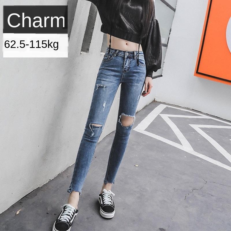 4QLHd 2020 Yaz mm şişman yeni büyük boy Jeans kalem kadınların dar kesim kalem ayak bileği uzunlukta pantolon mavi kot pantolon