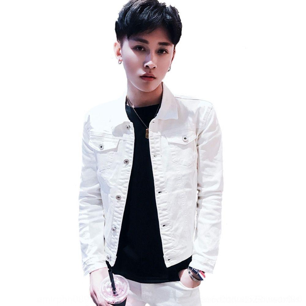 cE8Rp Многоцветная модно весной и осень стрейч мужской похудение тонкого хлопка куртка из денима студенческой молодежи мужского пиджака по желанию