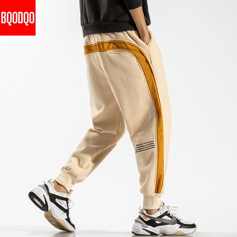 Rappezzatura del cotone del Harem Pantaloni Uomo oversize Hip Hop autunno casual jogging Pant maschio nero cachi coulisse Streetwear Pantaloni felpa