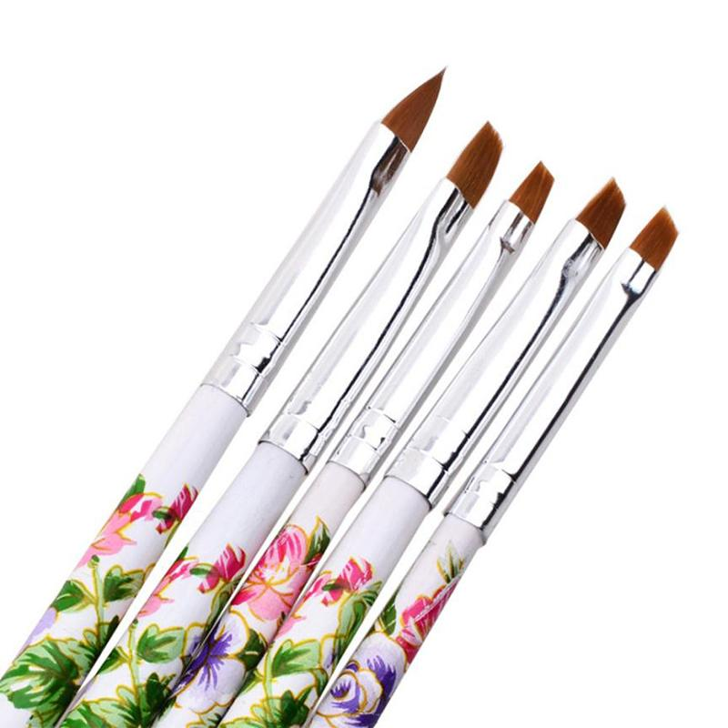 5pcs UV Gel Acrylic Colored nail art brush Nail Art Brush Design Manicure Tool builder gel set products