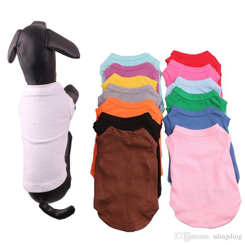 Pet Vestuário multi cores 4 Tamanho Pet verão Sólido camisetas para caes clássico do filhote de cachorro pequeno roupas para cachorros algodão camisas Roupa DH0284 T03