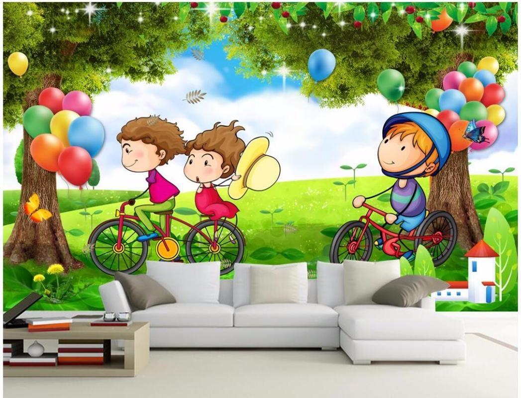 custom mural 3d photo wallpaper Children ride a bicycle tree balloon home decor 3d wall murals wallpaper for living room