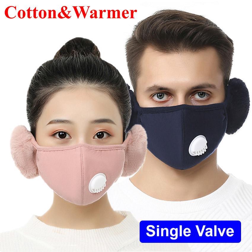 2020 nuovo progettista per adulti calda inverno Breathe Valve viso Orecchio Maschera Orecchio Muffs Full Face Mask esterno del cotone lavabili riutilizzabili coldproof Mask
