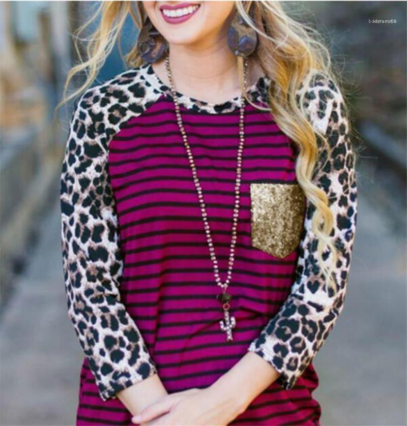Frauen-T-Shirts beiläufige Crew Neck Designer Mode Frauen-lange Hülsen-lose Damen Tops Leopard Striped Panelled