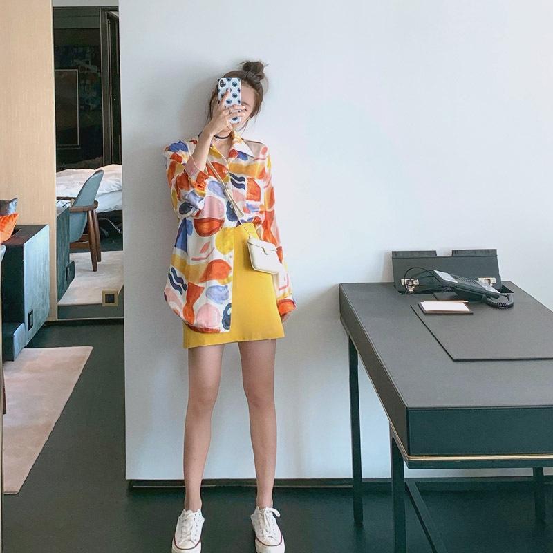 4zOty celebrità stampa estiva stesso stile al cuore di pittura colpo d'occhio la stampa allentata stile Hong Kong lungo olio una camicia manica pittura s