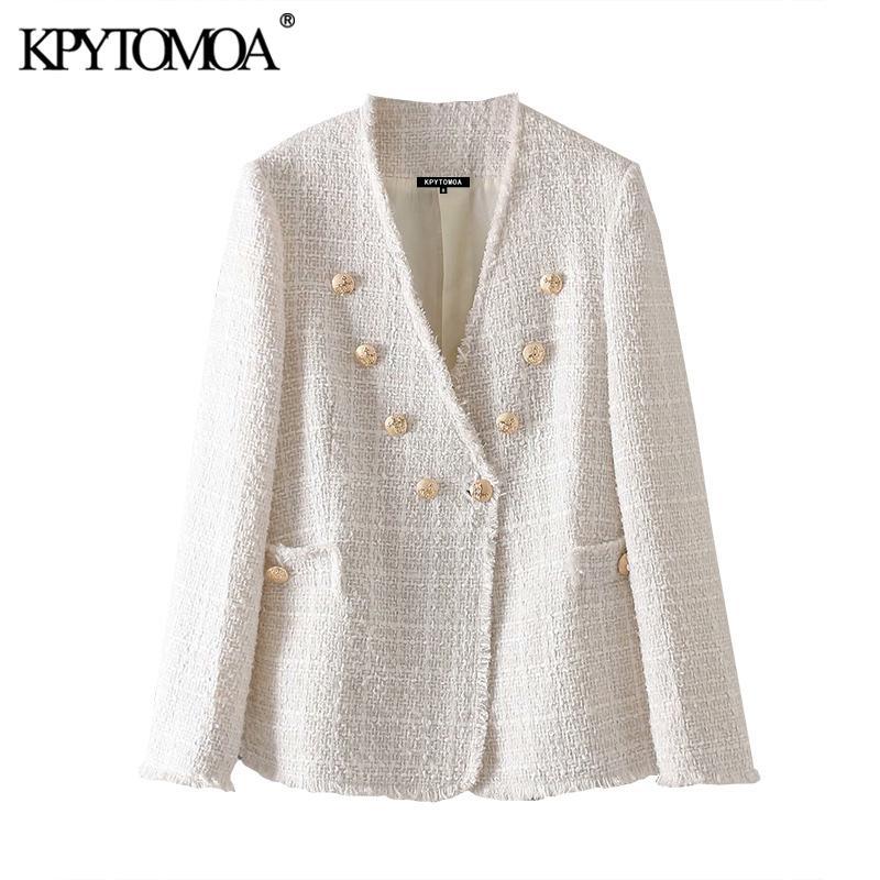 KPYTOMOA Kadınlar Moda Çift Breasted Yıpranmış Trims Tweed Blazers Coat Vintage V Yaka Uzun Kollu Kadın Dış Giyim Şık CX200815 Tops