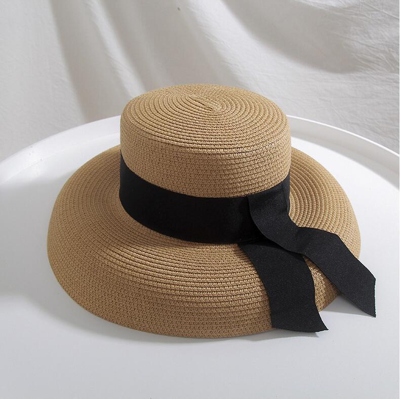 Seioum Summer Beach Соломенная шляпка Женщины канотье Hat с лентой Tie для отдыха отдыха Одри Хепберн Sun