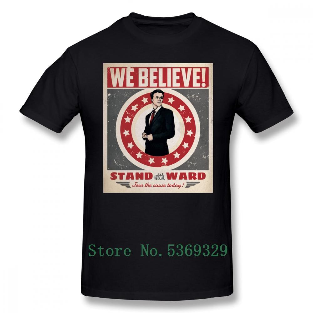 Ward Tişört Plaj% 100 Pamuk Tee Gömlek Plus Size Erkekler Eğlence 100 Yüzde Baskılı Tişört ile kalkan Tişörtlü standının Ajanlar