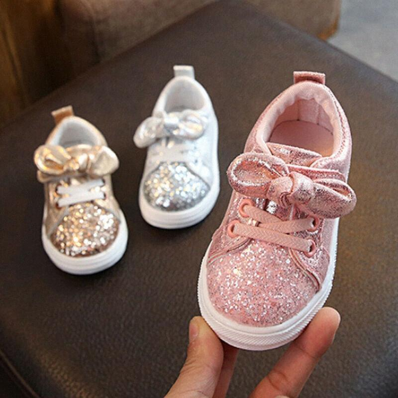 Infante recém-nascido Bebés Meninas Bow Lantejoula Crib sapatos bowknot Shinny Fashion Trend Crianças calçados casuais Etbd #