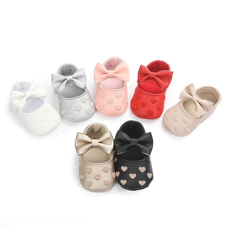 Moda Bebek İlk Yürüyenler Kız Yenidoğan Sneaker Çocuk Toddle Kayma-On Ayakkabı Kalp Prewalker Bebek Bowknot Casual Ayakkabı yazdır