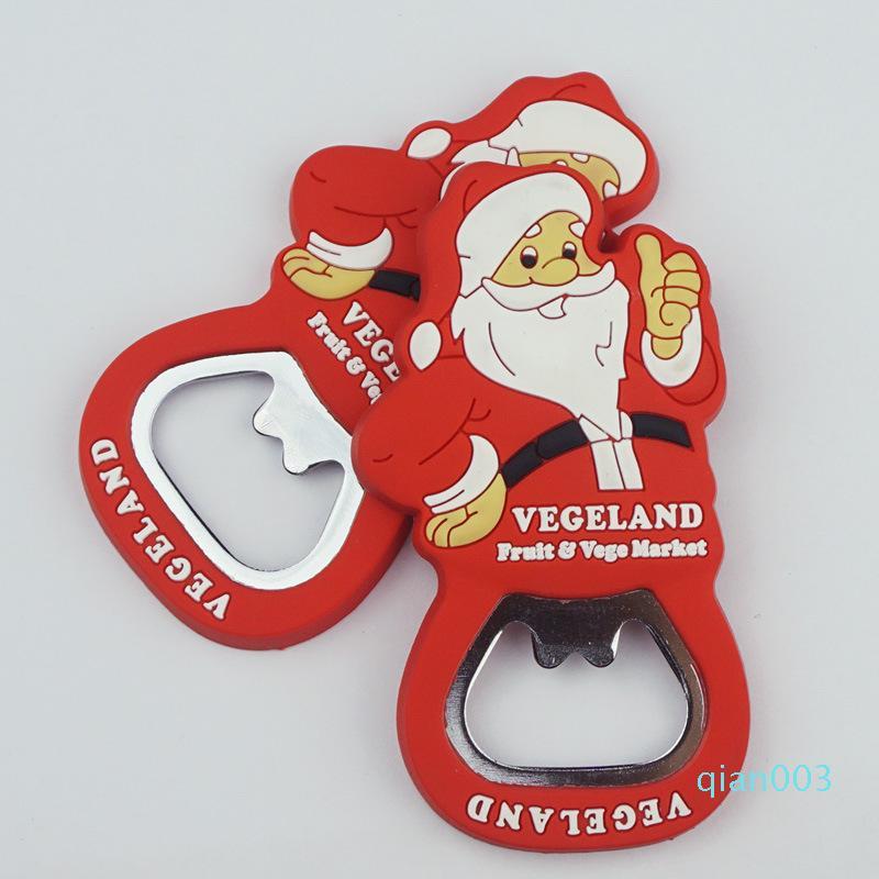Мультфильм С Рождеством бутылки пива открывалка ПВХ Популярные Санта-Клауса в форме открывалки Fit Party Favor красный цвет 0 8HT E1