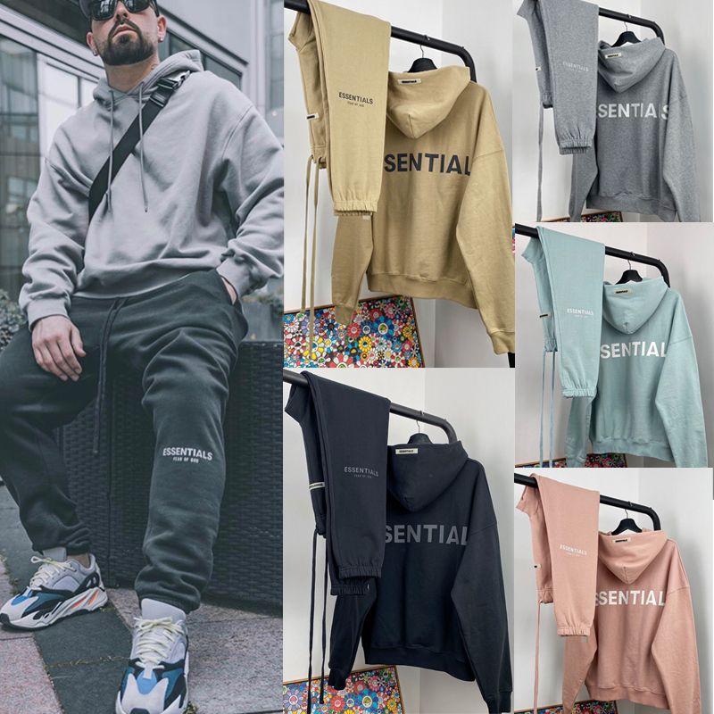 Erkekler Kadınlar Hip için TANRI Hoodie Ter Pantolon Seti SİS Essentials 3M Yansıtıcı Oversize Üst Alt Set KORKUSU Günlük streetwear Hop