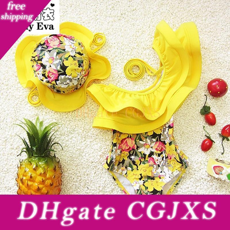 Çocuklar Çocuk Kız yıkanıyorum İçin Güneşli Eva One Piece Mayo Çiçek Yüzme Suit Giyim Çocuk Mayo ile Yüzme Cap Takımları