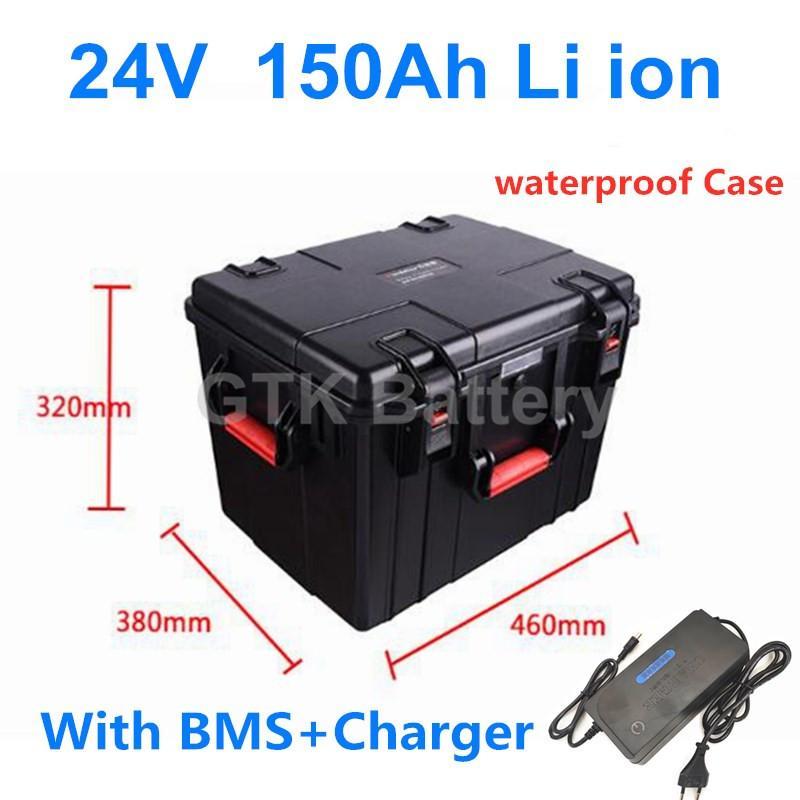 Wasserdichte 24v 150AH Lithium-Ionen-Batterie BMS EV Sonnen ebike Nabenmotor Schiffsantriebs eboating 5000W + 10A Ladegerät
