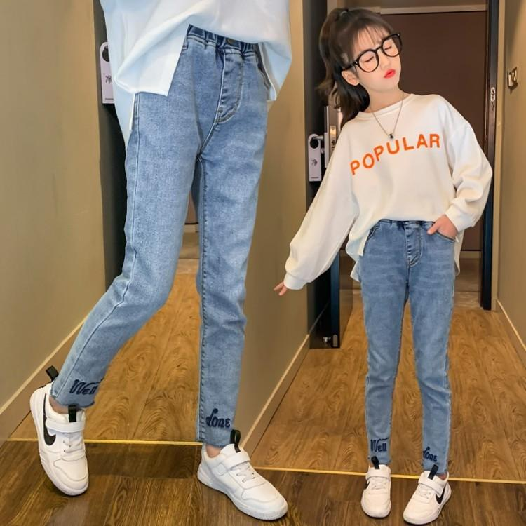 UkJKX 2020 Autumn New Pants 6 girls' spring autumn thin slim fit all-match trousers medium and large children's small feet pants jeans and j