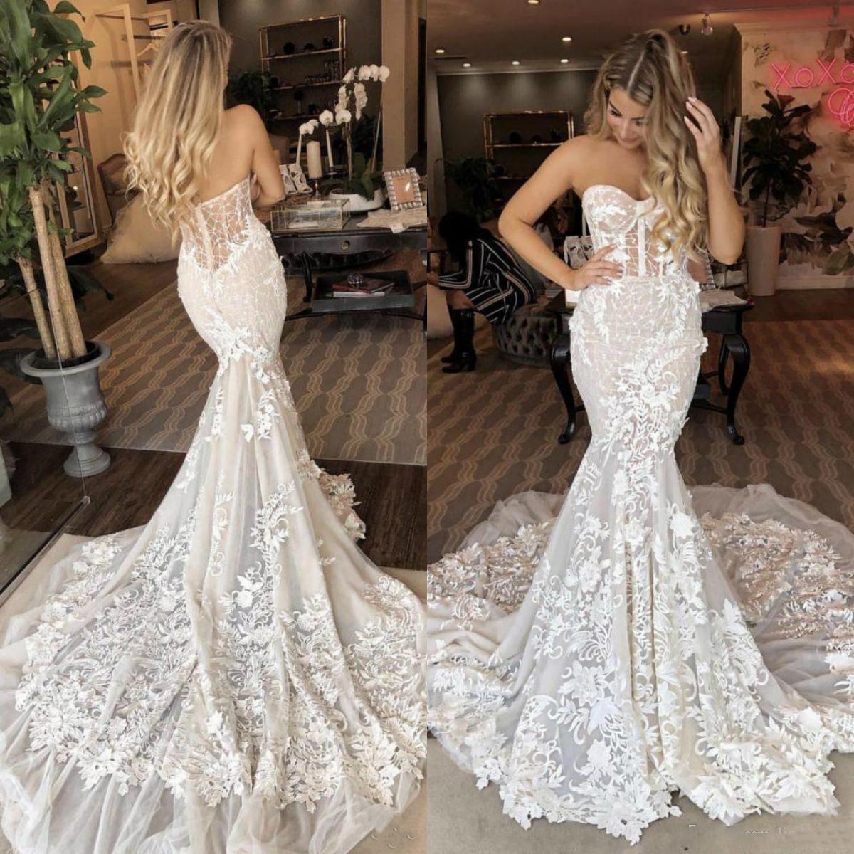 Linda sereia 2020 casamento Dresse Querida Floral 3D Appliqued Lace Trem da varredura Garden Country vestidos de noiva Vestidos de novia