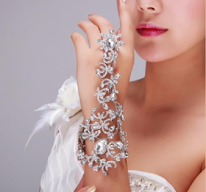 Bling Bling Flor de cristal sin dedos Brida Cadenas de mano Mujeres Bailar Mano Pulsera Brazaletes Guante Joyería Accesorios de boda nupciales Al6994