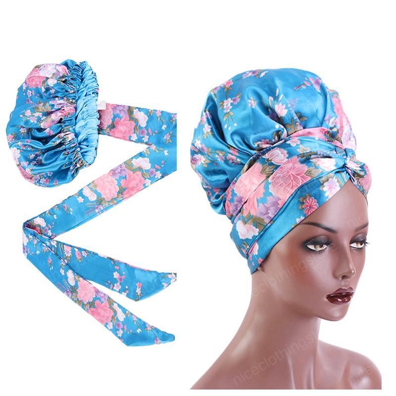 Novo padrão de impressão de cetim Bonnet com longa fita Enrole Double Layer Headwrap Mulheres cobrir os cabelos Tamanho Grande Cabelo envoltório Cap grosso