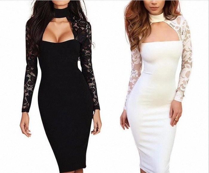 Frauen bloße Spitze-Partei-Verein-Kleid-lange Hülse Keyhole Midi Bodycon Kleider dünner dünner Cocktail Abendkleid M454 09l3 #