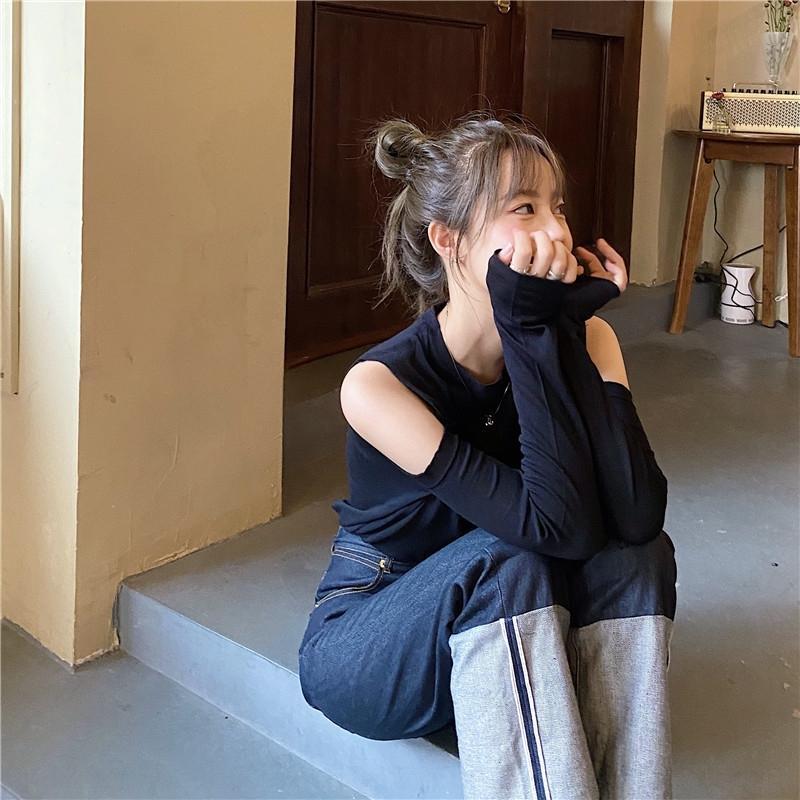 ey8VX 2020 temprano - el otoño de nuevo todo-fósforo de la camiseta de la madethe-hombro del corazón de las mujeres sensación verticales a prueba de sol de la manga larga de punto de tocar fondo camisa