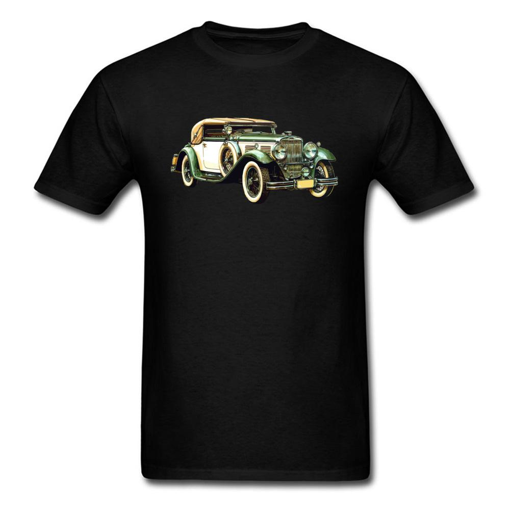 Eski Araba Boyama Erkekler Siyah Tişört Klasik Chic Kısa Kollu Erkek Giyim O-boyun Takım Custom Tees Drop Shipping Tops