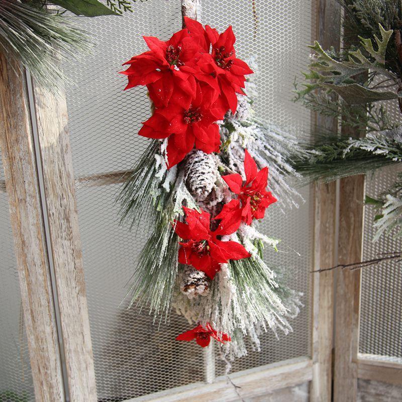 Adventskranz Ornamente Dekoration rote Farbe gefälschte künstliche Blume Simulation Schnee Blume für Weihnachten täglichen Bedarfs