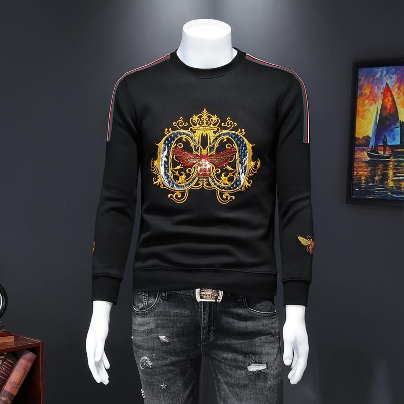 2020 осени европейской станции чистой знаменитость красивый личность модный бренд вокруг шее тонкой пчелиной вышивка модного свитера мужского тренд