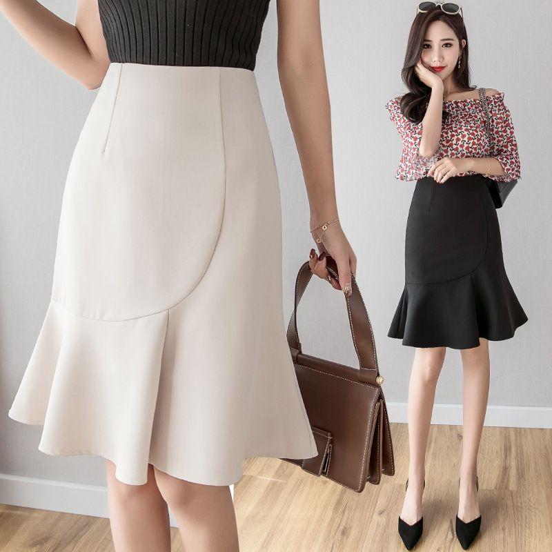 côté OhK3W printemps-été 2020 nouvelles femmes de Hong Kong taille haute saveur polyvalente Jupe longue jupe à volants