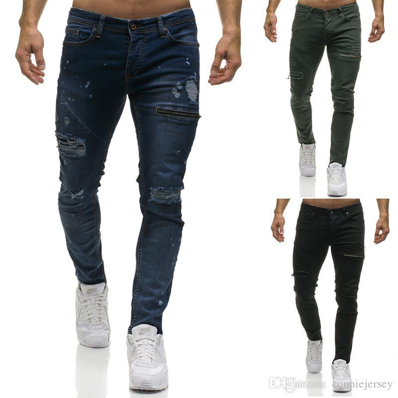 Jeans Rips Washed Motocycle Denim Pants Zipper Panelled Hip Hop Trousers Men Designer Jean Straight Jeans with Holes
