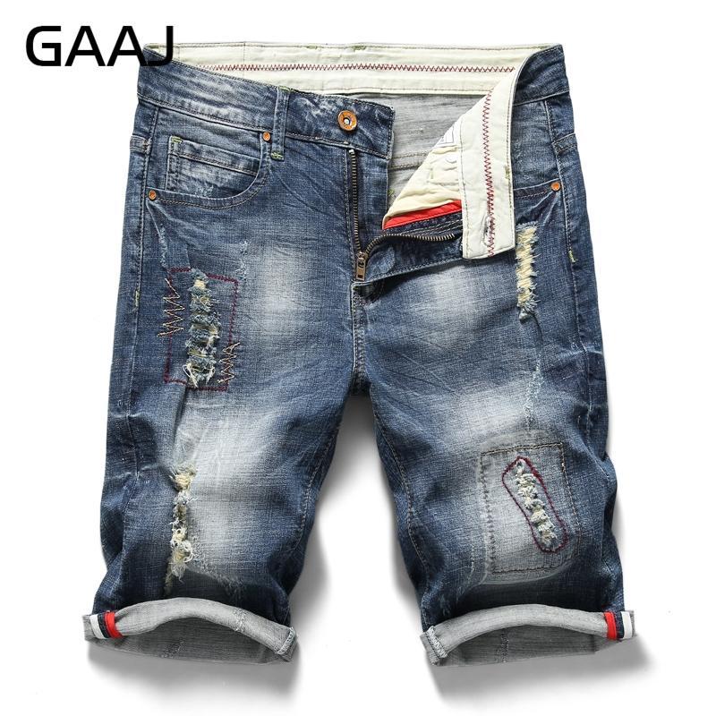 2020 GAAJ Mens ponen en cortocircuito la ropa de moda de las Bermudas del motorista Hombres Jean Homme pantalones cortos regulares rasgado estiramiento del tamaño barato Azul Pantalón Plus