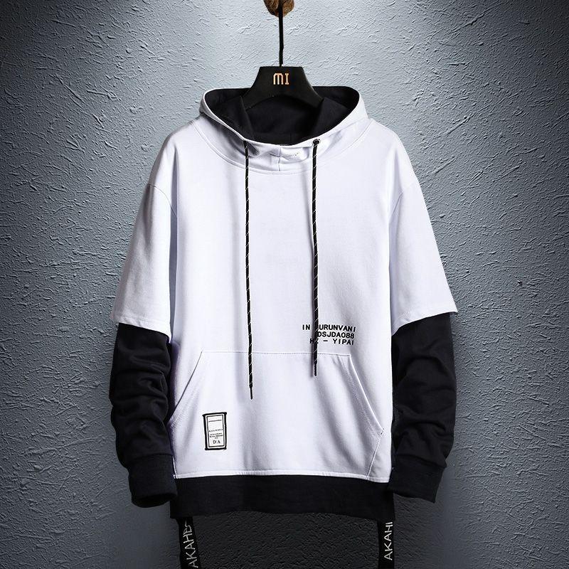 Patchwork Hoodie Sweatshirt Mens Autumn Hip Hop Cotton Pullover Hoodies Streetwear Japan Style Clothes colorblock hoodie 200923