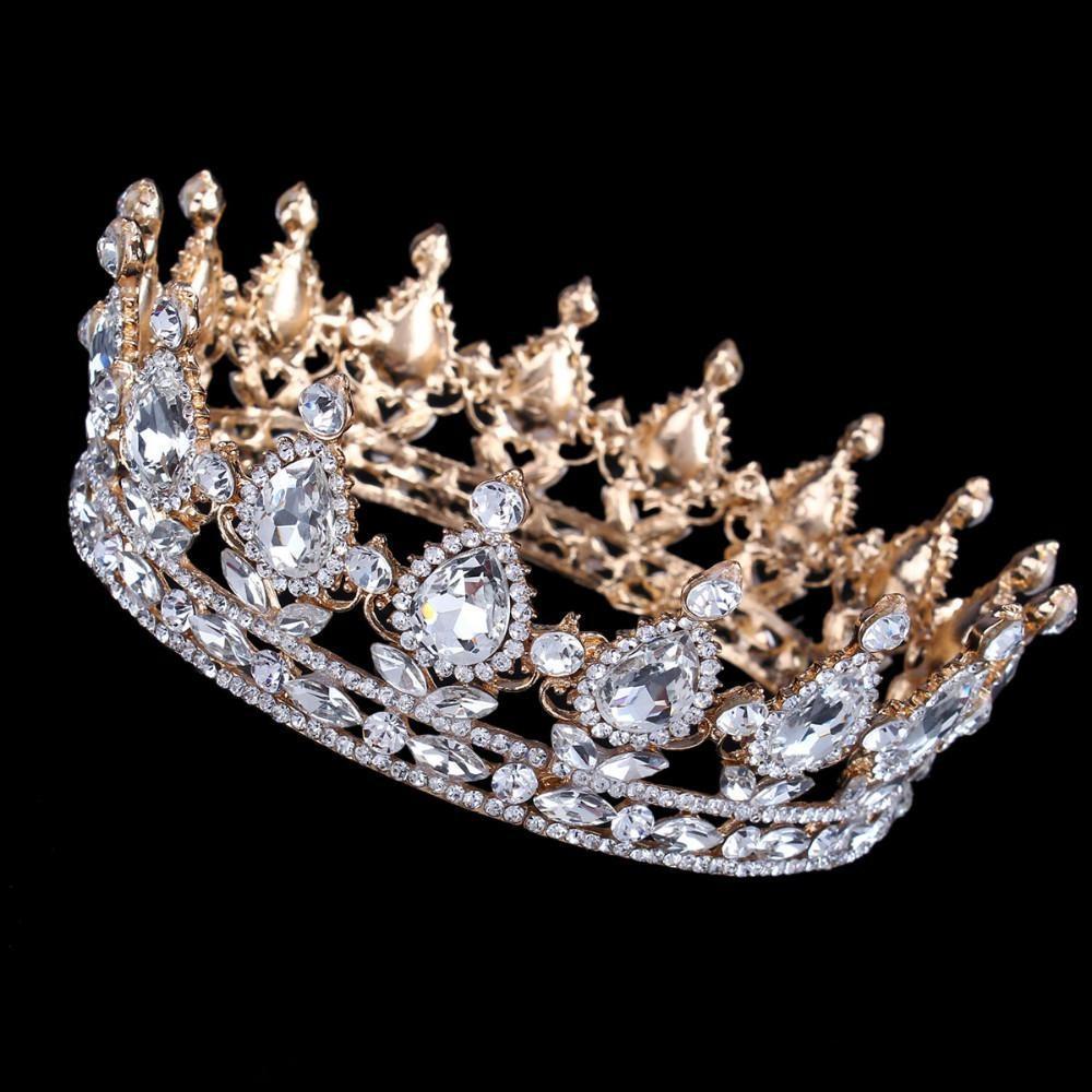 블링 럭셔리 빈티지 골드 웨딩 크라운 합금 신부 티아라 바로크 여왕 왕 크라운 골드 컬러 라인 스톤 티아라 왕관 결혼식 용 액세서리