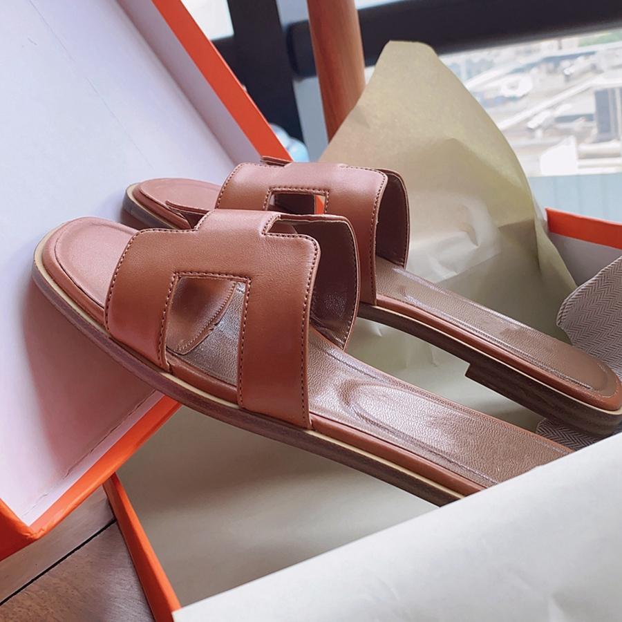 Donna Leather Sandals Slipper Scarpe Arancione classici sandali estate delle signore di piatto Slipper all'aperto spiaggia donna infradito per la donna 35-41