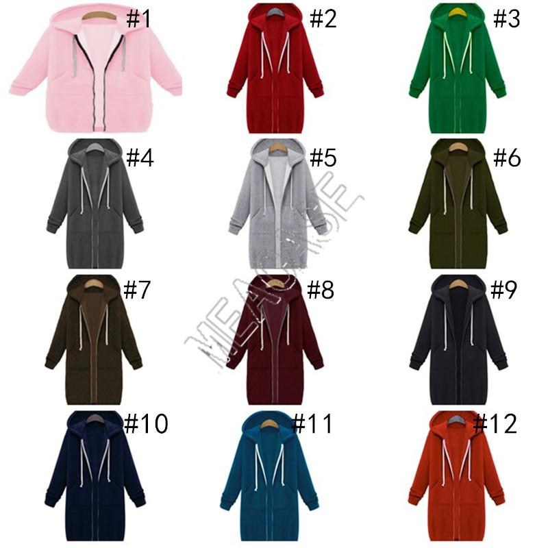 Woman Clothes Designer Solid Color Hooded Long Sleeved Tops Plus Fleece Sweater 2020 Fall Winter Women Mid-length Zipper Jacket Coat D82606