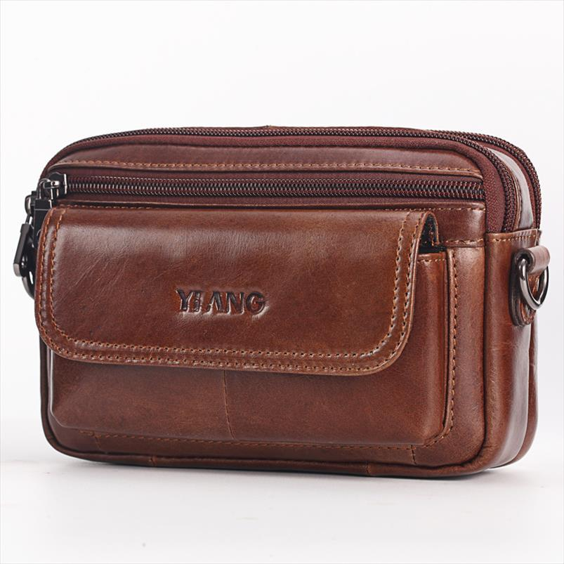New alta qualidade genuína saco de couro Belt celular Mobile Phone Pequeno Mensageiro Shoulder Cruz cintura Bolsa Corpo Homens Bloco de Fanny Hip Bag