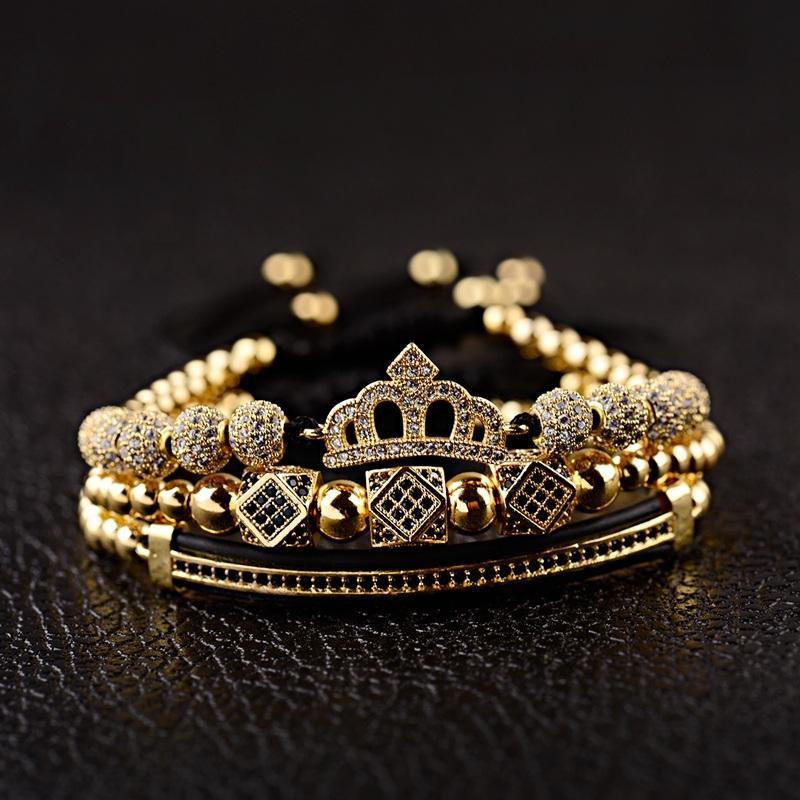 Cobre Bead Macrame Pulseiras Moda Geométrico Longo tubo CZ Rei Coroa encanto dos homens de luxo Set BraceletsBangles Para Mulheres Y200810